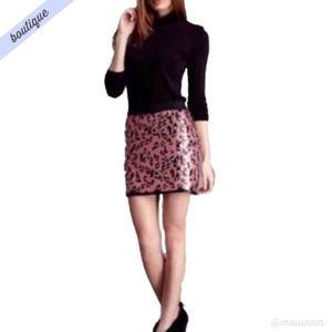 [BCBG] Pink & Black Cheetah Print Sequin Skirt